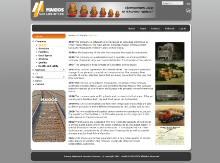 Website Makios Logistics - History